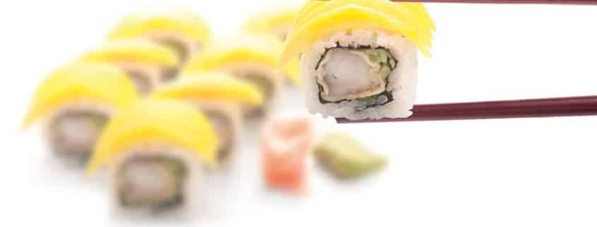 Суши Урамаки скарида в темпура с манго 8 броя
